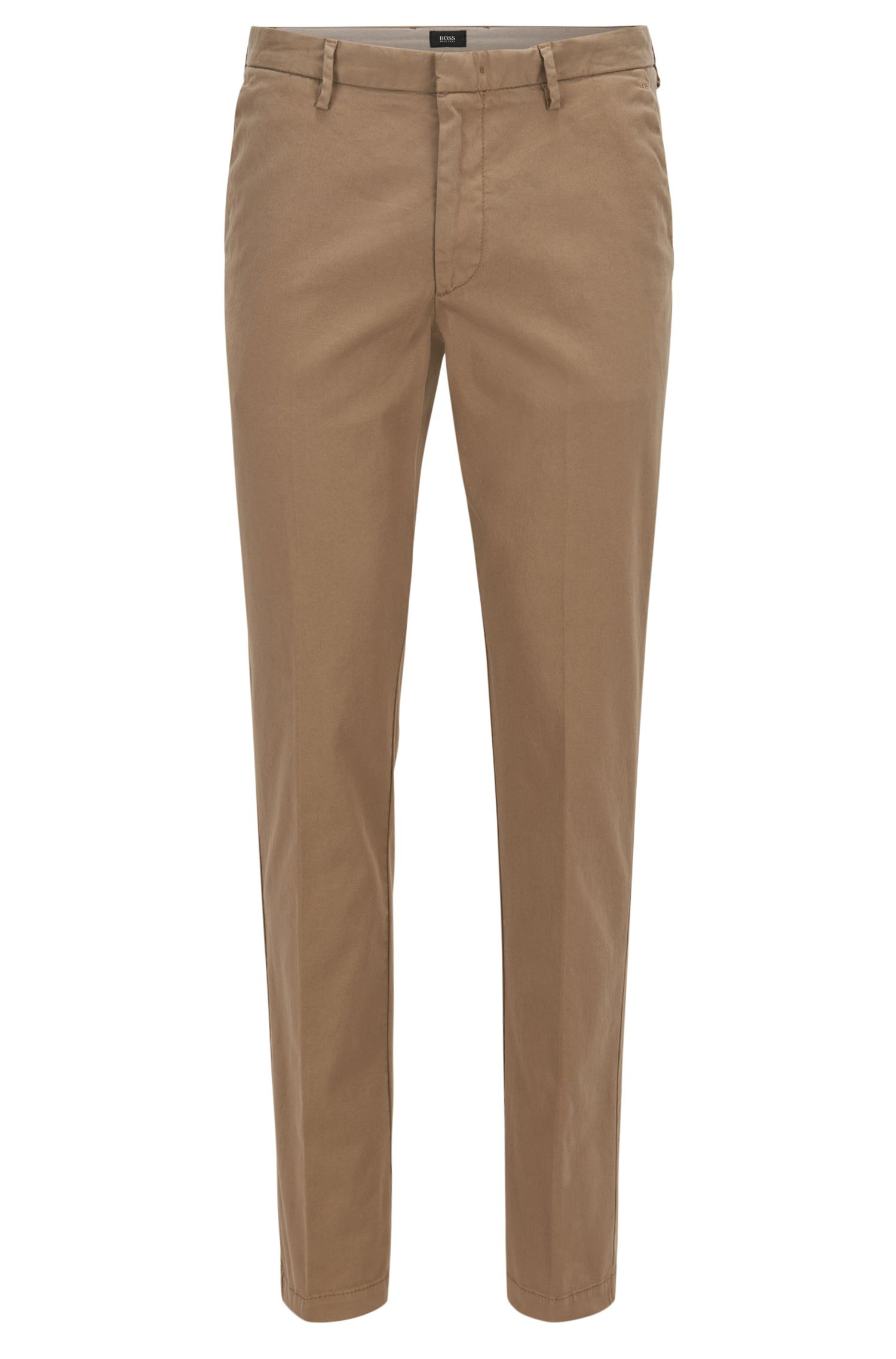 Slim-fit chino in een gabardine van stretchkatoen, Beige