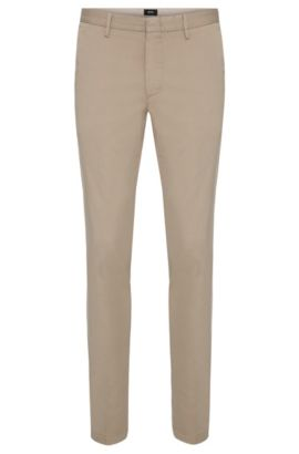 Slim-fit chino in een stretchtwill, Lichtbeige