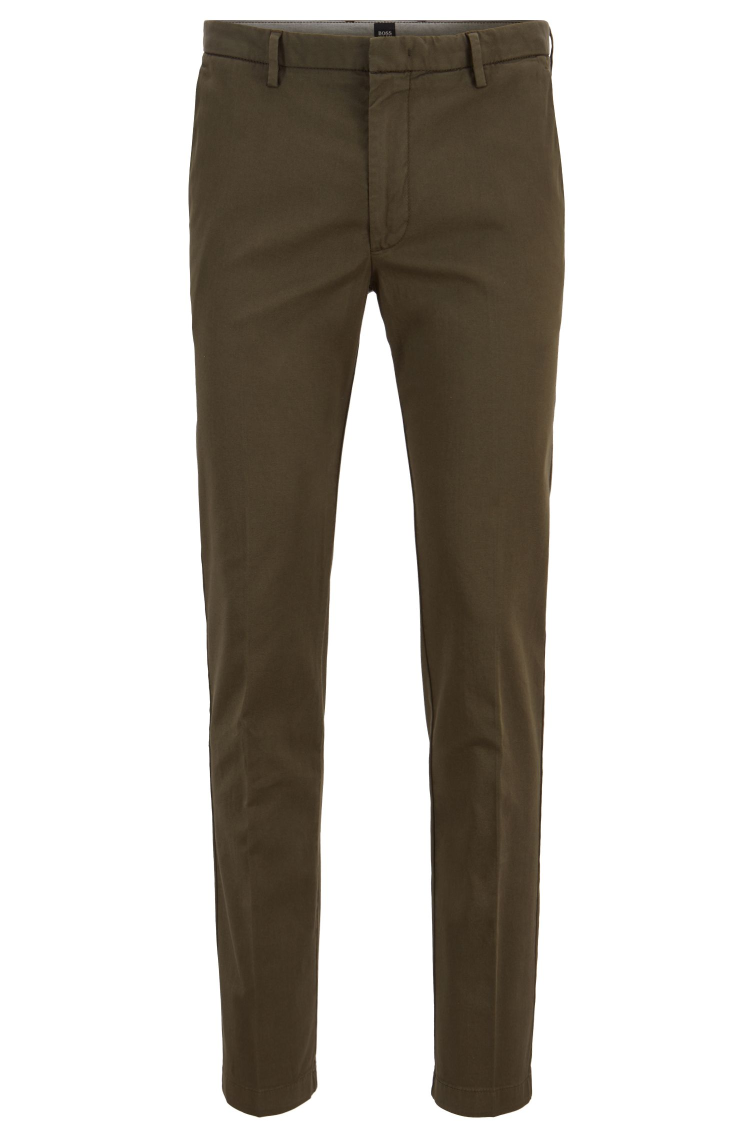 Chino Slim Fit en gabardine de coton stretch, Vert sombre