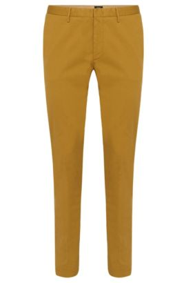 Chino Slim Fit en sergé stretch, Jaune foncé