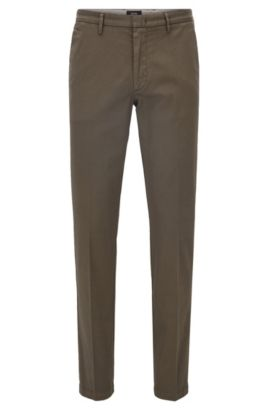 Chino slim fit in twill elasticizzato, Verde scuro