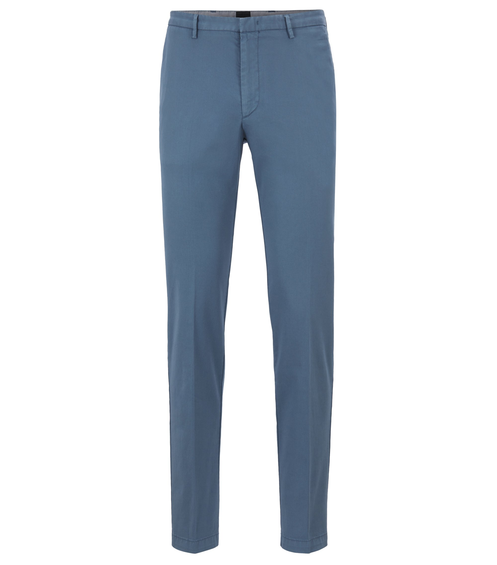 Chino slim fit in gabardine di cotone elasticizzato, Blu