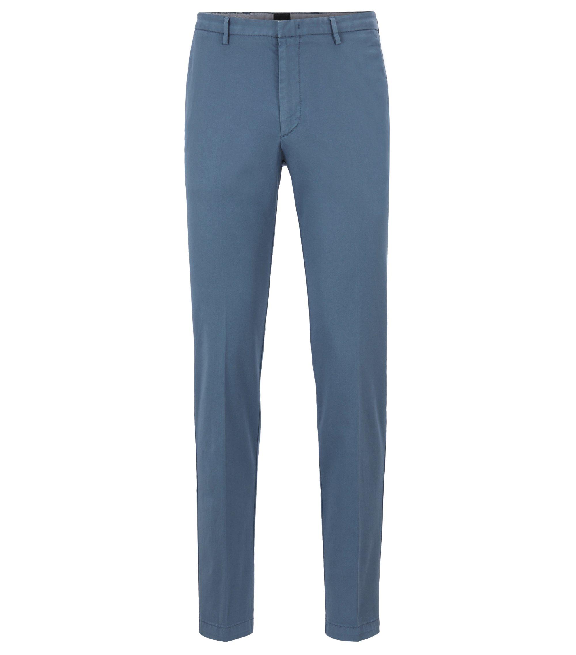 Chino Slim Fit en gabardine de coton stretch, Bleu