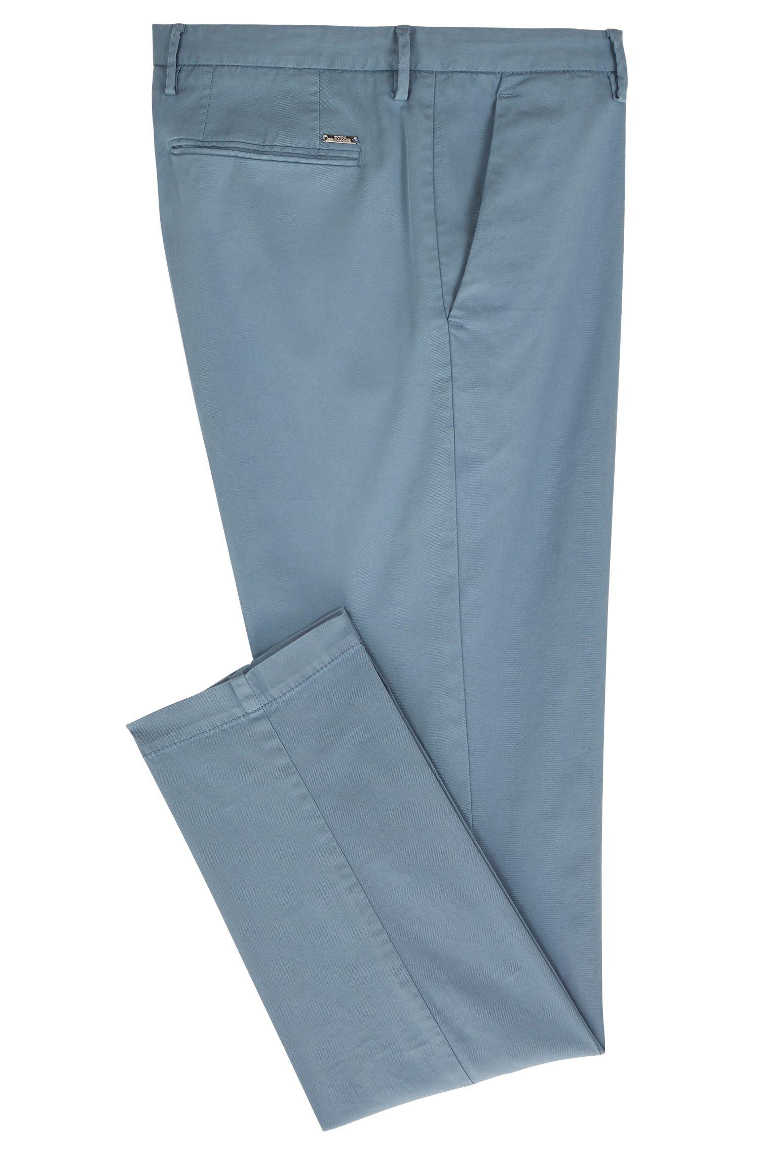 Chino slim fit in gabardine di cotone elasticizzato, Celeste