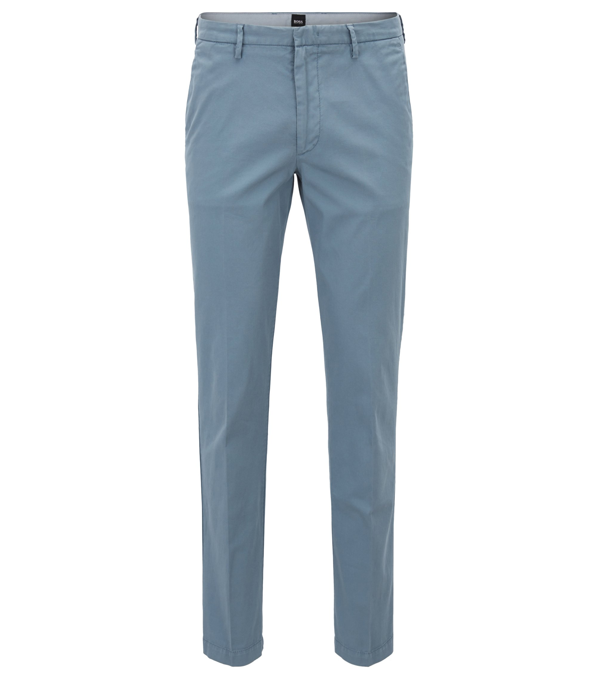 Chino Slim Fit en gabardine de coton stretch, Bleu vif