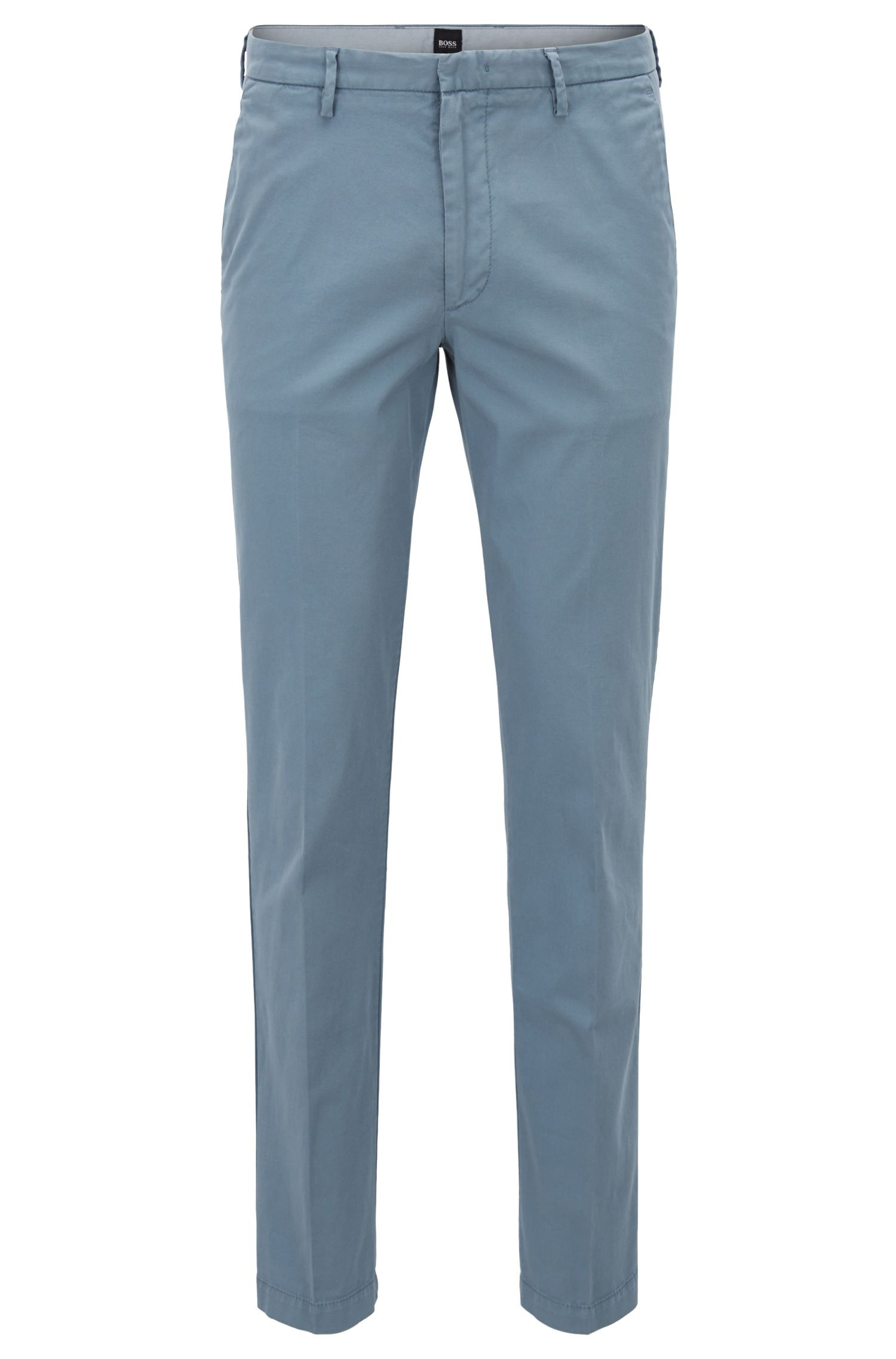Slim-fit chinos in stretch cotton gabardine, Open Blue