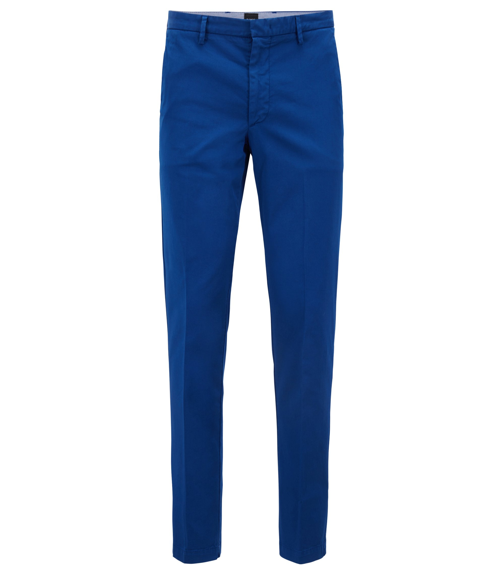 Slim-fit chinos in stretch cotton gabardine, Blue