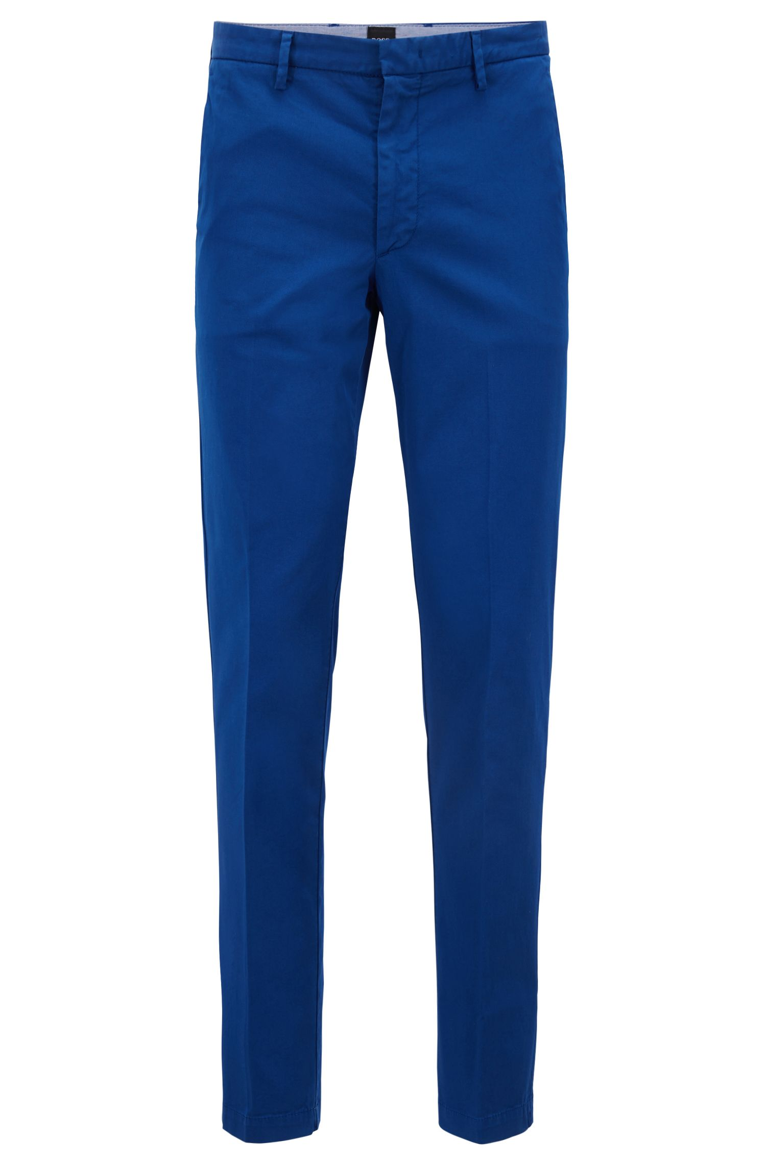 Slim-fit chino in een gabardine van stretchkatoen, Blauw