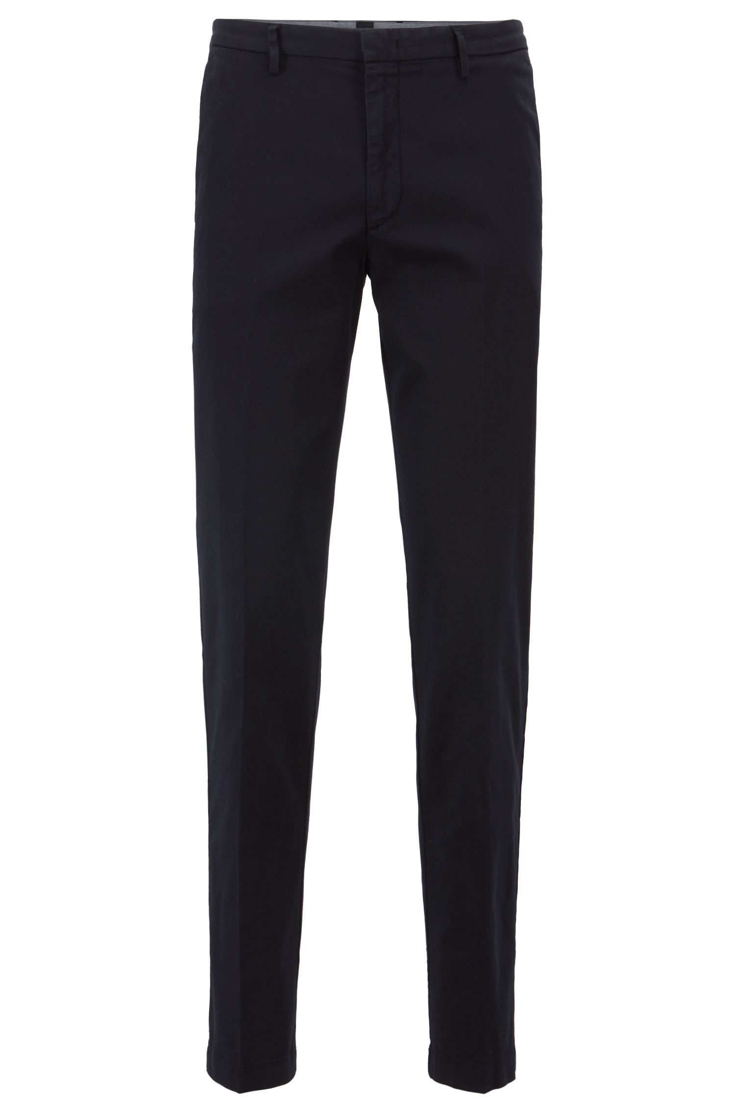 Slim-fit chinos in stretch cotton gabardine, Dark Blue