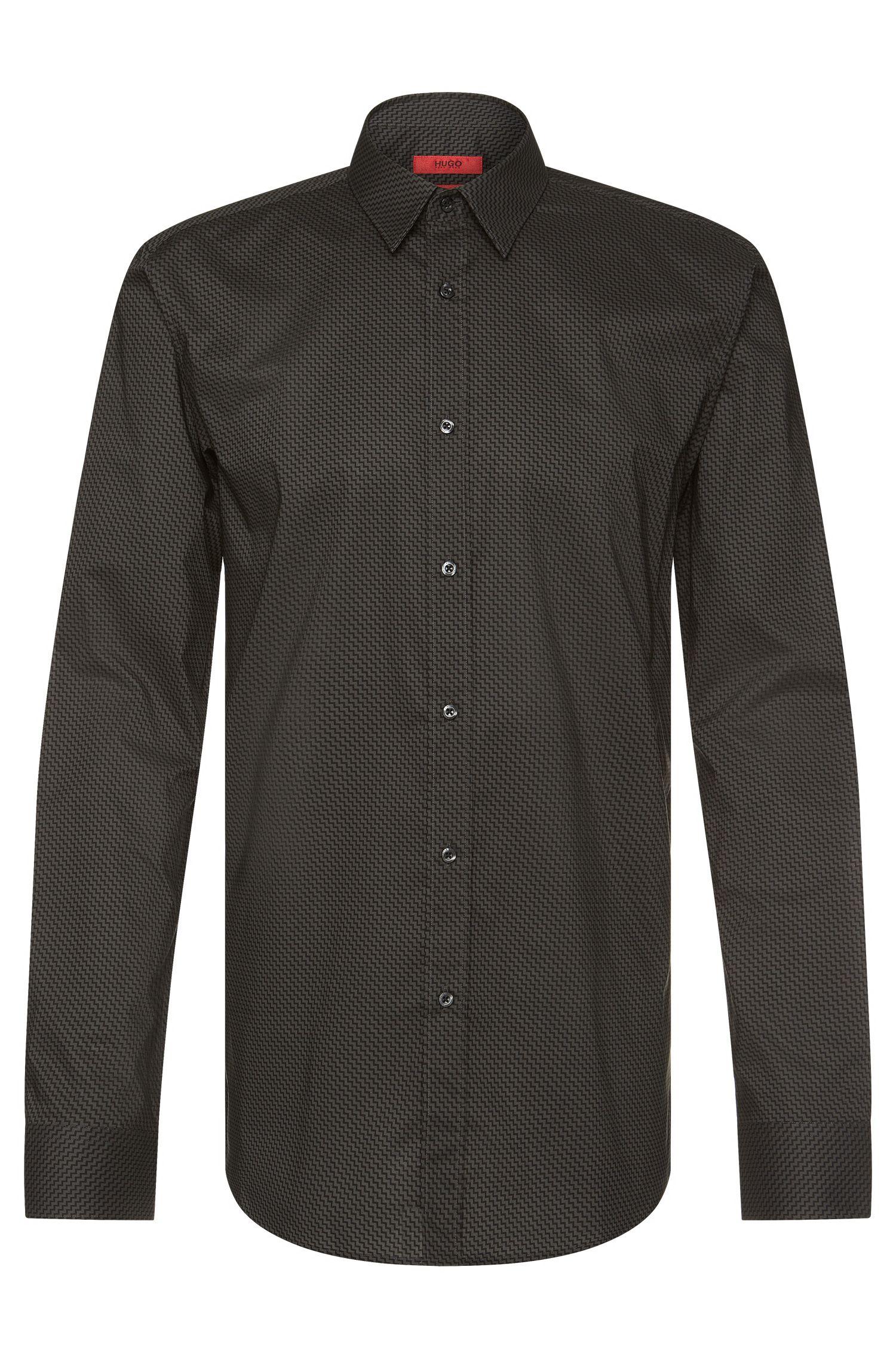 Slim-fit shirt in cotton with zigzag pattern: 'Elisha'