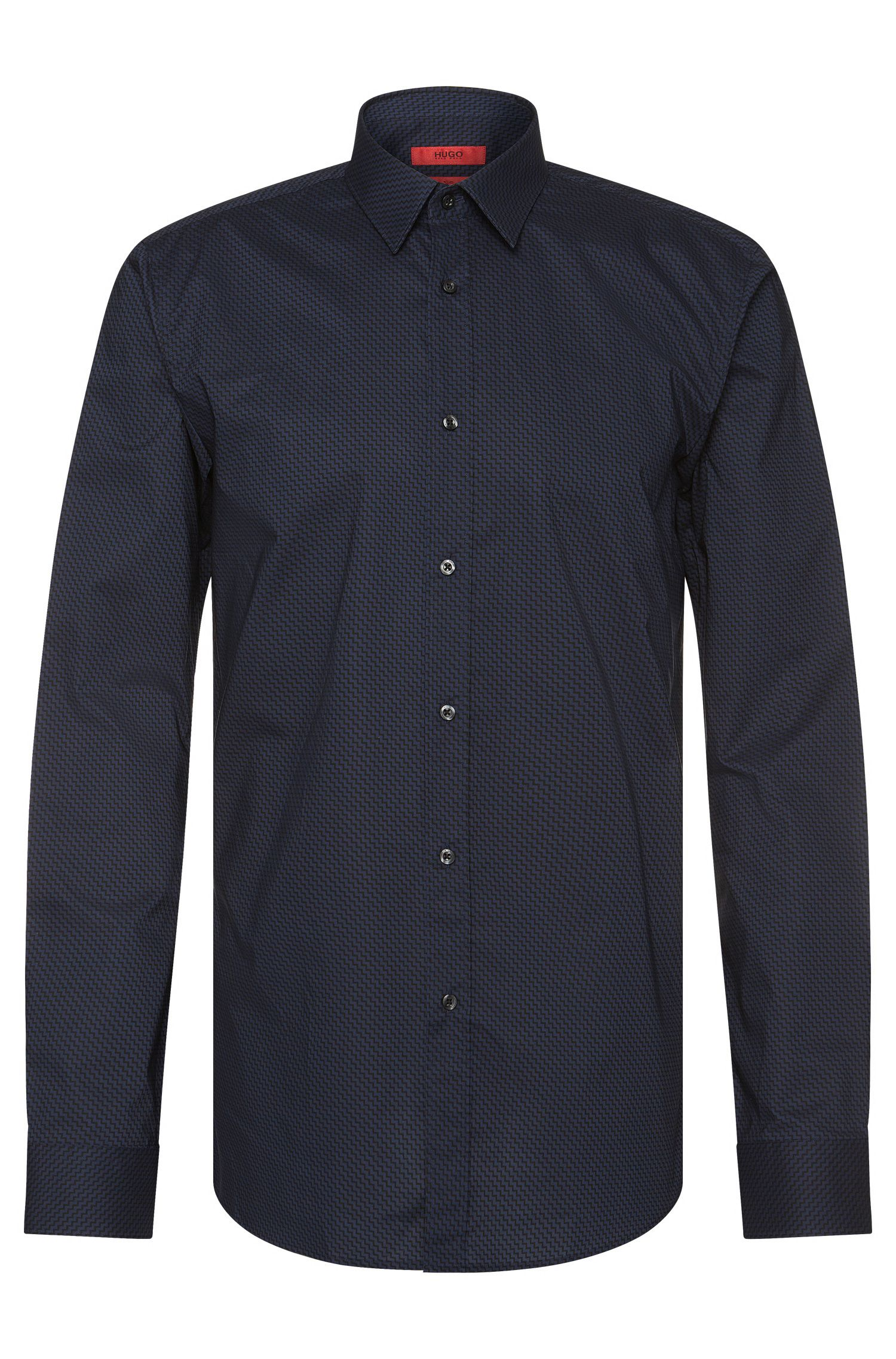 Slim-fit overhemd van katoen met zigzagdessin: 'Elisha'