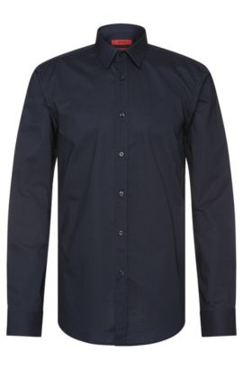 Slim-fit shirt in cotton with zigzag pattern: 'Elisha', Dark Blue