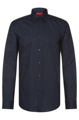 Camisa slim fit en algodón con estampado en zigzag: 'Elisha', Azul oscuro