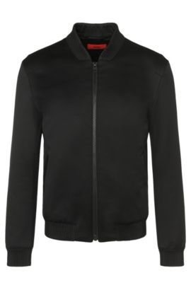 Bomber jacket with details in leather effect: 'Belagio', Black