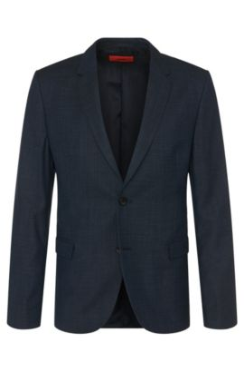 Veste de costume Regular Fit en laine vierge imprimée: «Arelto», Bleu foncé