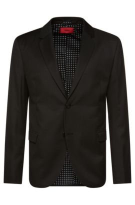 Slim-fit jacket in pure new wool: 'Arelto', Anthracite