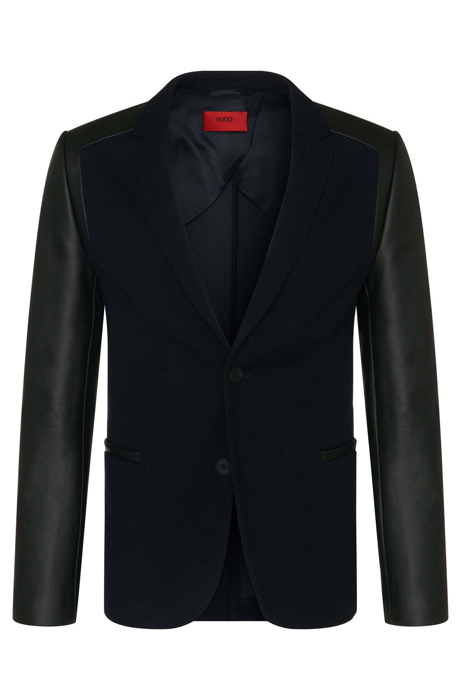 Slim-fit knitwear jacket in new-wool blend with leather-effect sleeves: 'Arvey'
