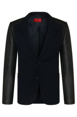 Slim-fit knitwear jacket in new-wool blend with leather-effect sleeves: 'Arvey', Dark Blue