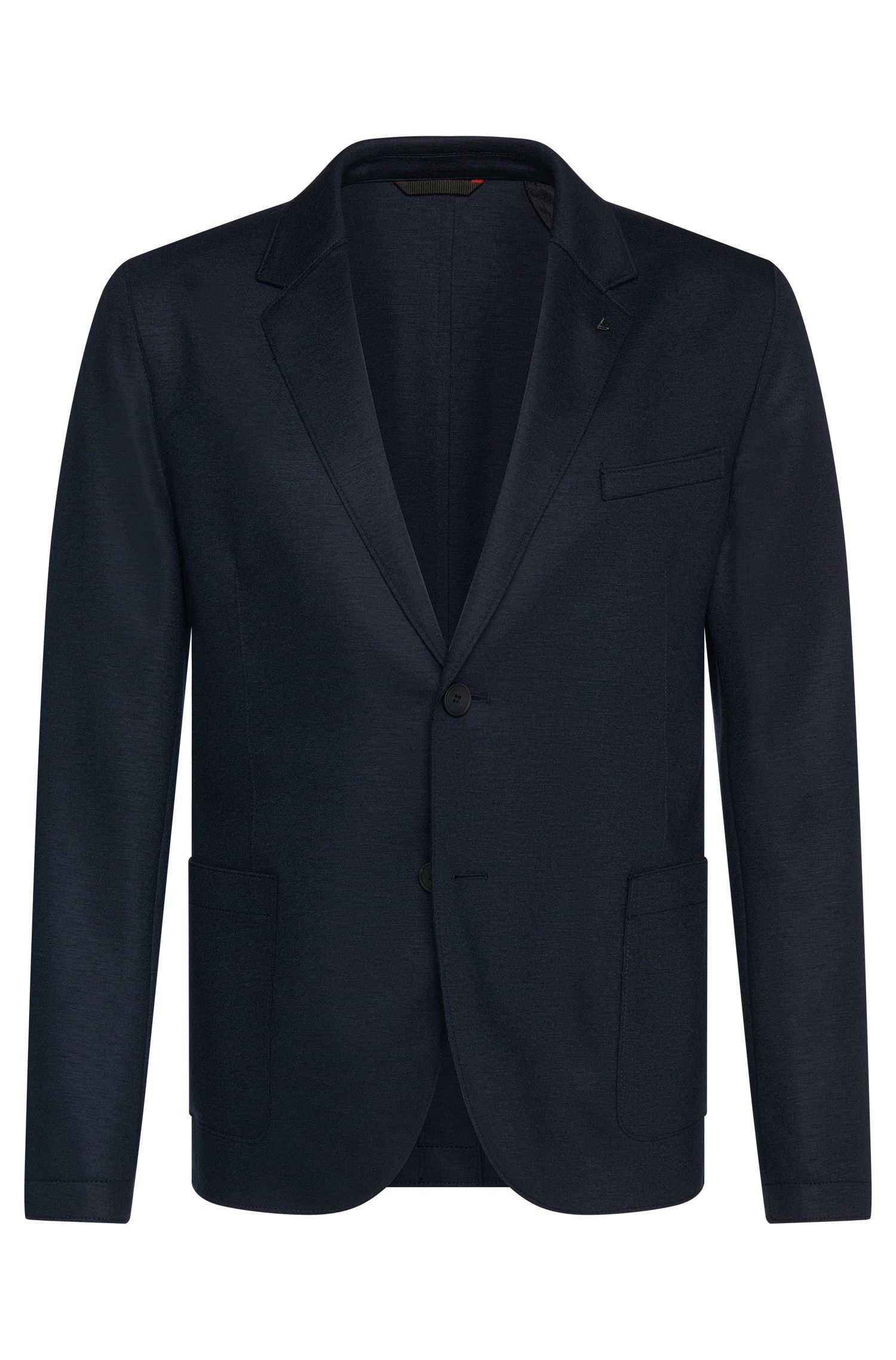 Slim-fit jacket in stretchy new-wool blend with open hems: 'Alento'