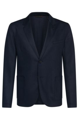 Slim-fit jacket in stretchy new-wool blend with open hems: 'Alento', Dark Blue