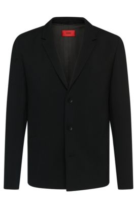 Regular-fit jacket with asymmetric darts: 'Arby', Black