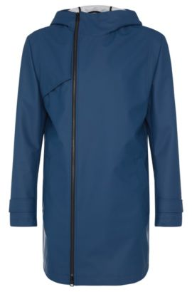 Water-repellent parka with asymmetric zip: 'Menoz', Open Blue