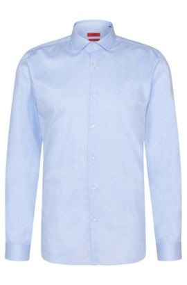 Finely patterned slim-fit cotton shirt: 'Erondo', Light Blue