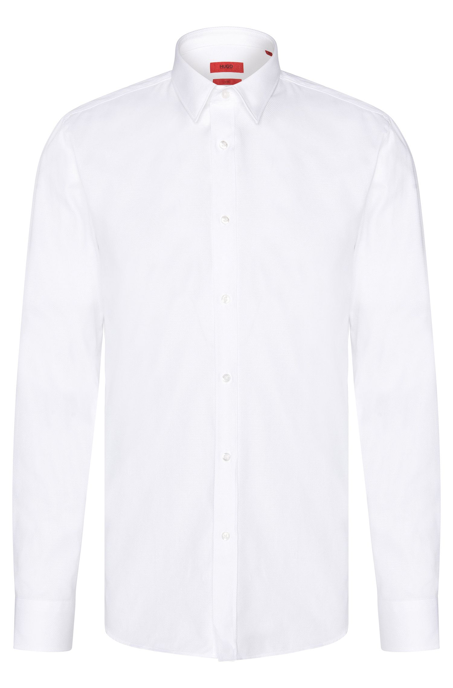Finely textured slim-fit shirt in cotton: 'Elisha'