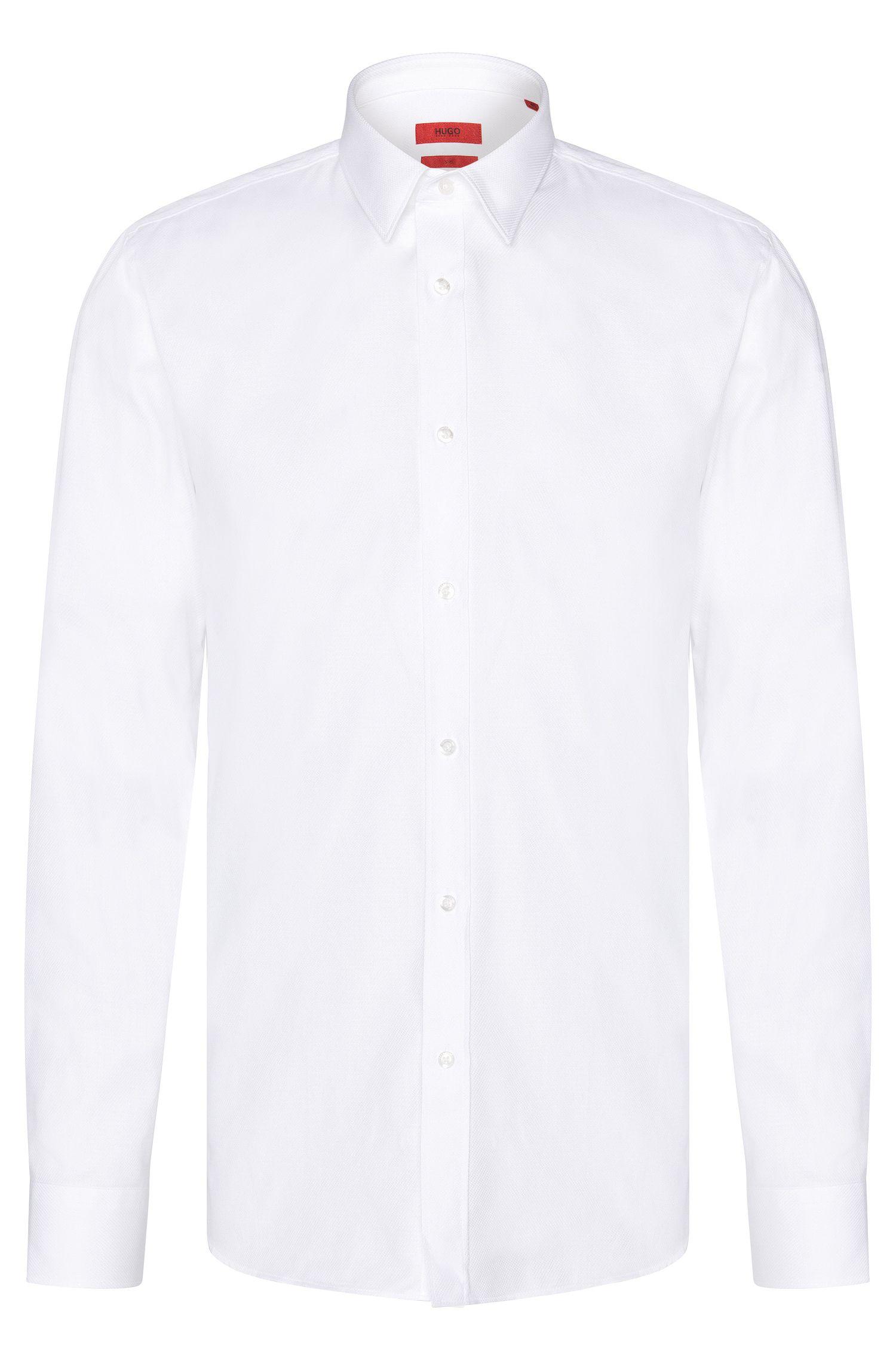 Fijngestructureerd slim-fit overhemd van katoen: 'Elisha'