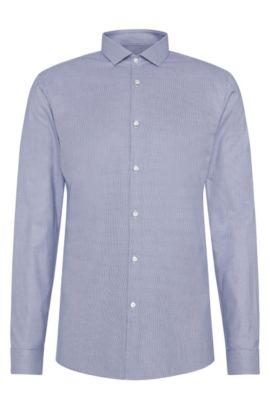 Patterned slim-fit shirt in cotton: 'Erondo', Dark Blue