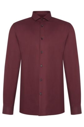 Patterned slim-fit shirt in cotton: 'Erondo', Dark Red