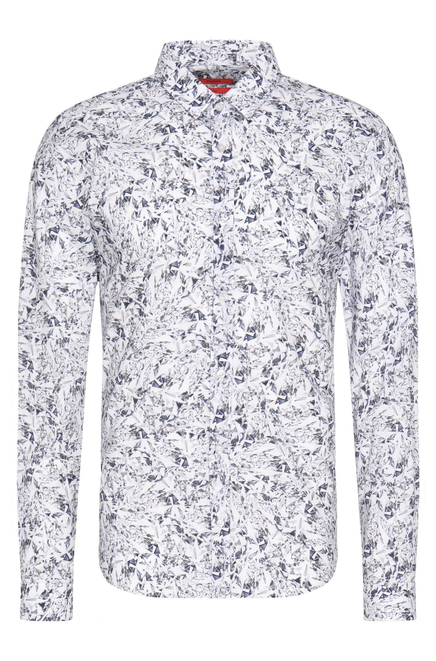 Camicia slim fit in cotone a disegni: 'Ero3'
