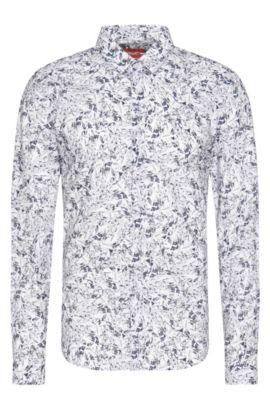 Gemustertes Slim-Fit Hemd aus Baumwolle: 'Ero3', Hellgrau