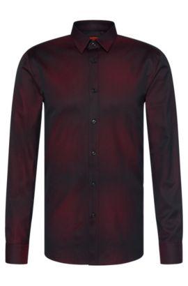 Slim-fit shirt in cotton with subtle colour graduation: 'Elisha', Dark Red