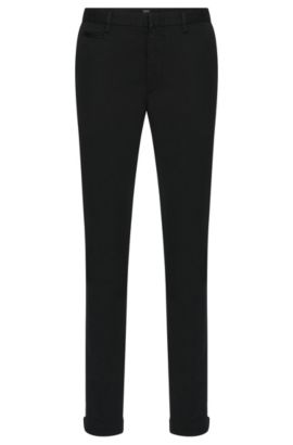 Slim-fit chinos in stretch cotton with a subtle textured pattern: 'Kaito3-5-W', Black