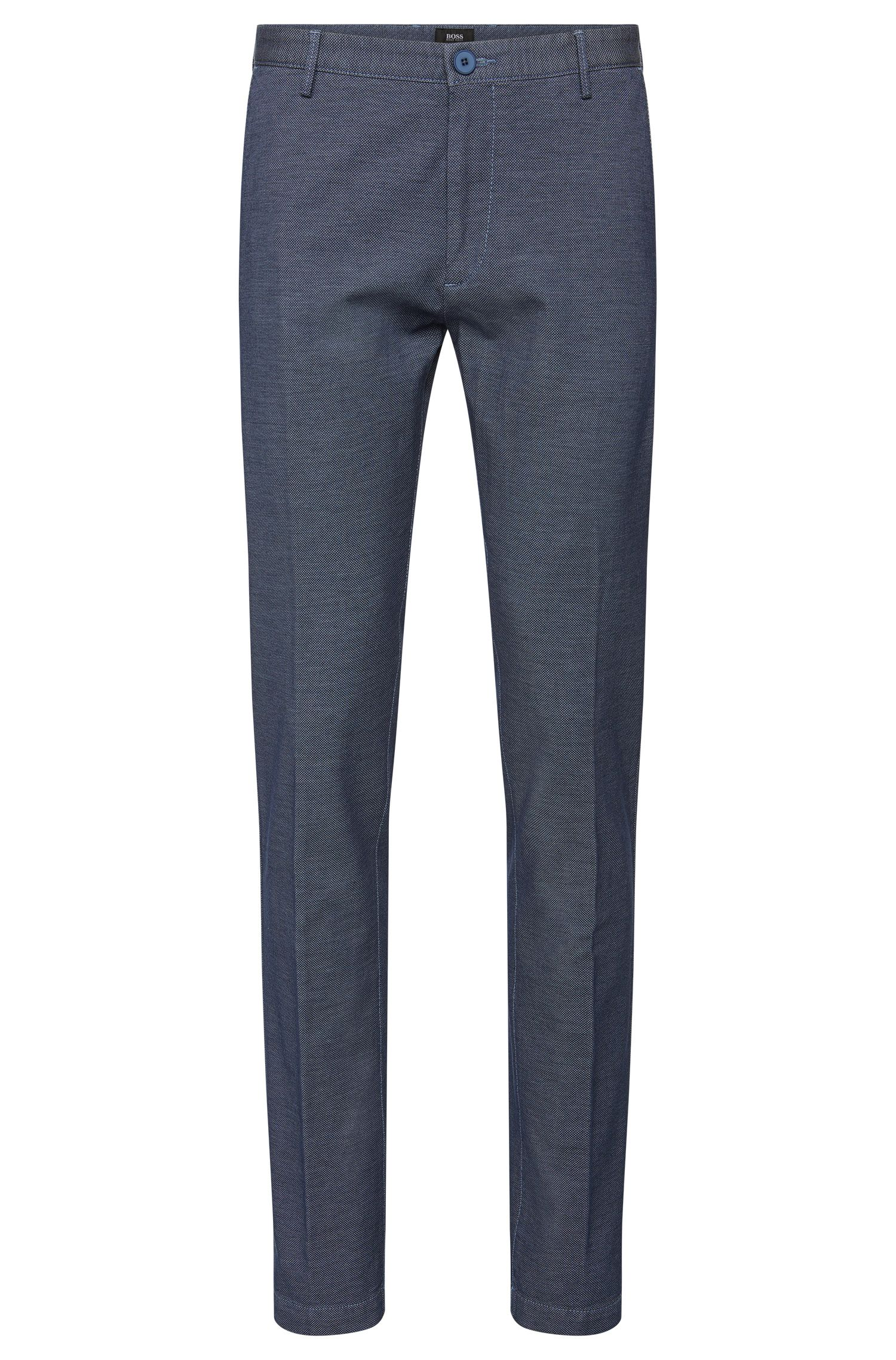 Slim-fit trousers in stretch cotton with a finely textured pattern: 'Rice3-W'
