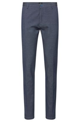 Slim-fit trousers in stretch cotton with a finely textured pattern: 'Rice3-W', Turquoise