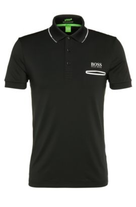 Functional slim-fit polo shirt in stretchy material blend: 'Paule Pro 1', Black