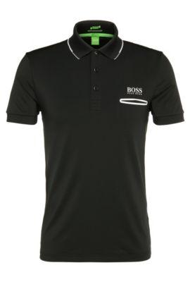 Funktionales Slim-Fit Poloshirt aus elastischem Material-Mix: ´Paule Pro 1`, Schwarz