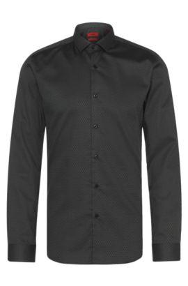 Chemise Slim Fit à motif en coton: «Erondo», Noir