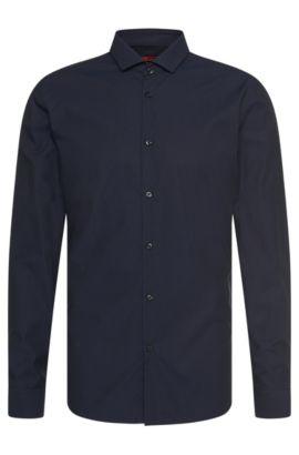 Slim-fit shirt in cotton with textured pattern: 'Erondo', Dark Blue