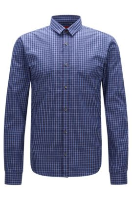 Camicia slim fit a quadri in cotone: 'Ero3', Celeste