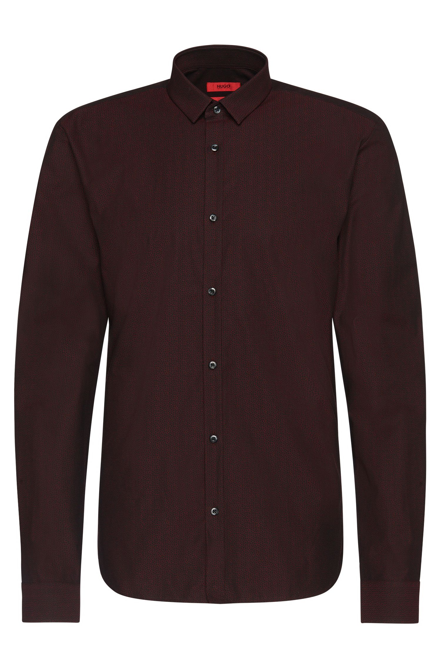 Finely patterned slim-fit cotton shirt: 'Ero3'