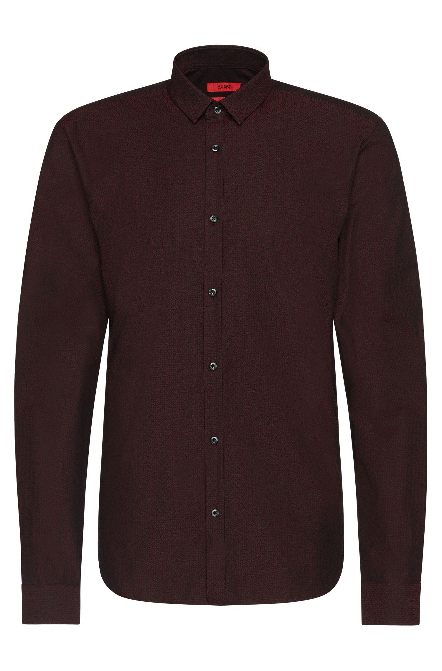 Fein gemustertes Slim-Fit Hemd aus Baumwolle: 'Ero3'
