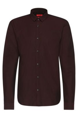 Finely patterned slim-fit cotton shirt: 'Ero3', Dark Red