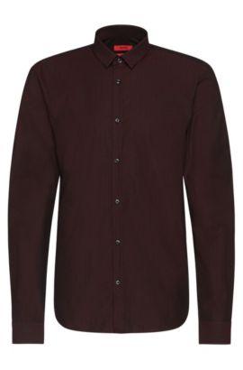 Slim-fit overhemd van katoen met een fijn dessin: 'Ero3', Donkerrood