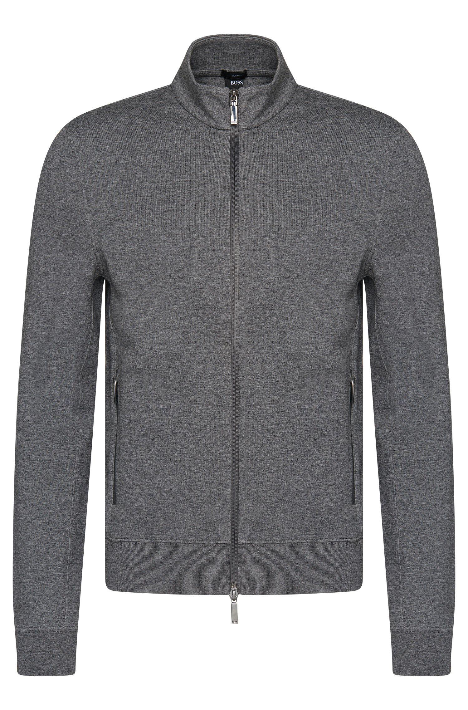 Mottled slim-fit sweatshirt jacket in cotton blend: 'Soule 06'
