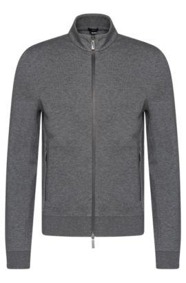 Mottled slim-fit sweatshirt jacket in cotton blend: 'Soule 06', Grey