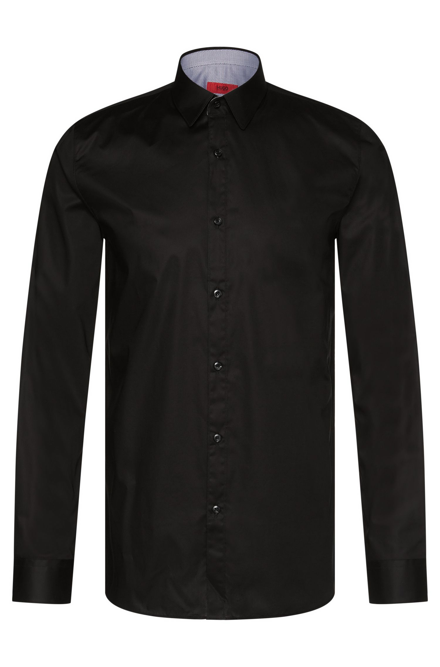 Plain-coloured extra slim-fit shirt in stretch cotton: 'Efin'