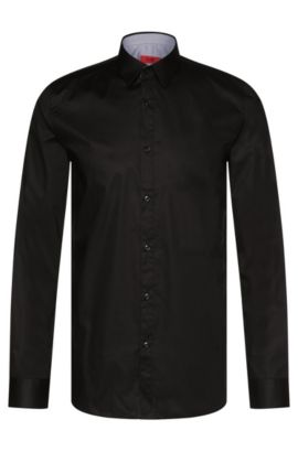 Plain-coloured extra slim-fit shirt in stretch cotton: 'Efin', Black